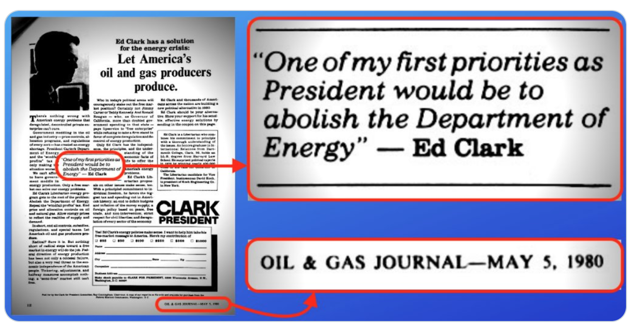 "1980 Clark-Koch Oil and Gas Journal Ad Promising to ""Abolish the Department of Energy"""