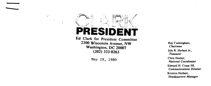 1980 Ed Clark Campaign Position Statements Opposing All Regulation of Energy and All Environmental Laws