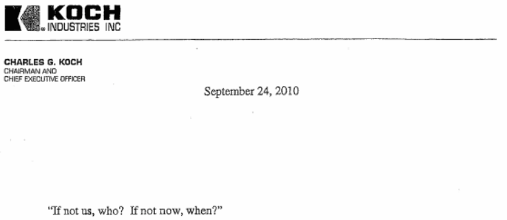 2010 Charles Koch Invitation to His Donor Summit to Influence the Mid-Term Elections and More