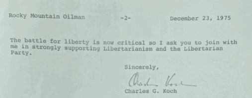 "1975 Charles Koch Asks the ""Rocky Mountain Oilman"" to Fund Libertarian Presidential Candidate Roger MacBride"