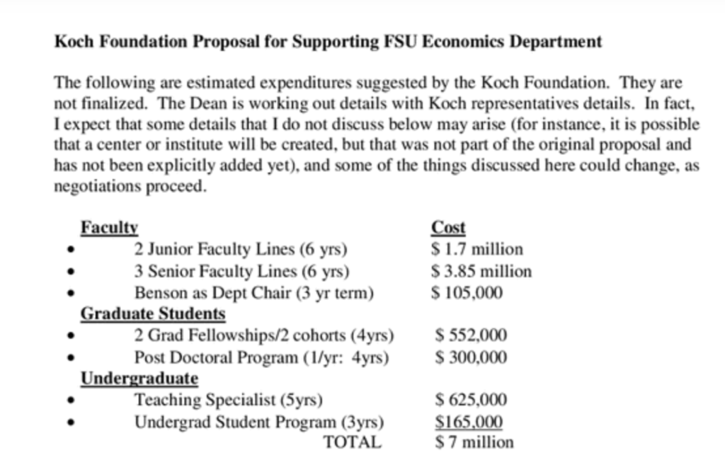 2007 The Koch Foundation's Proposal for Funding Florida State University, With Strings Attached